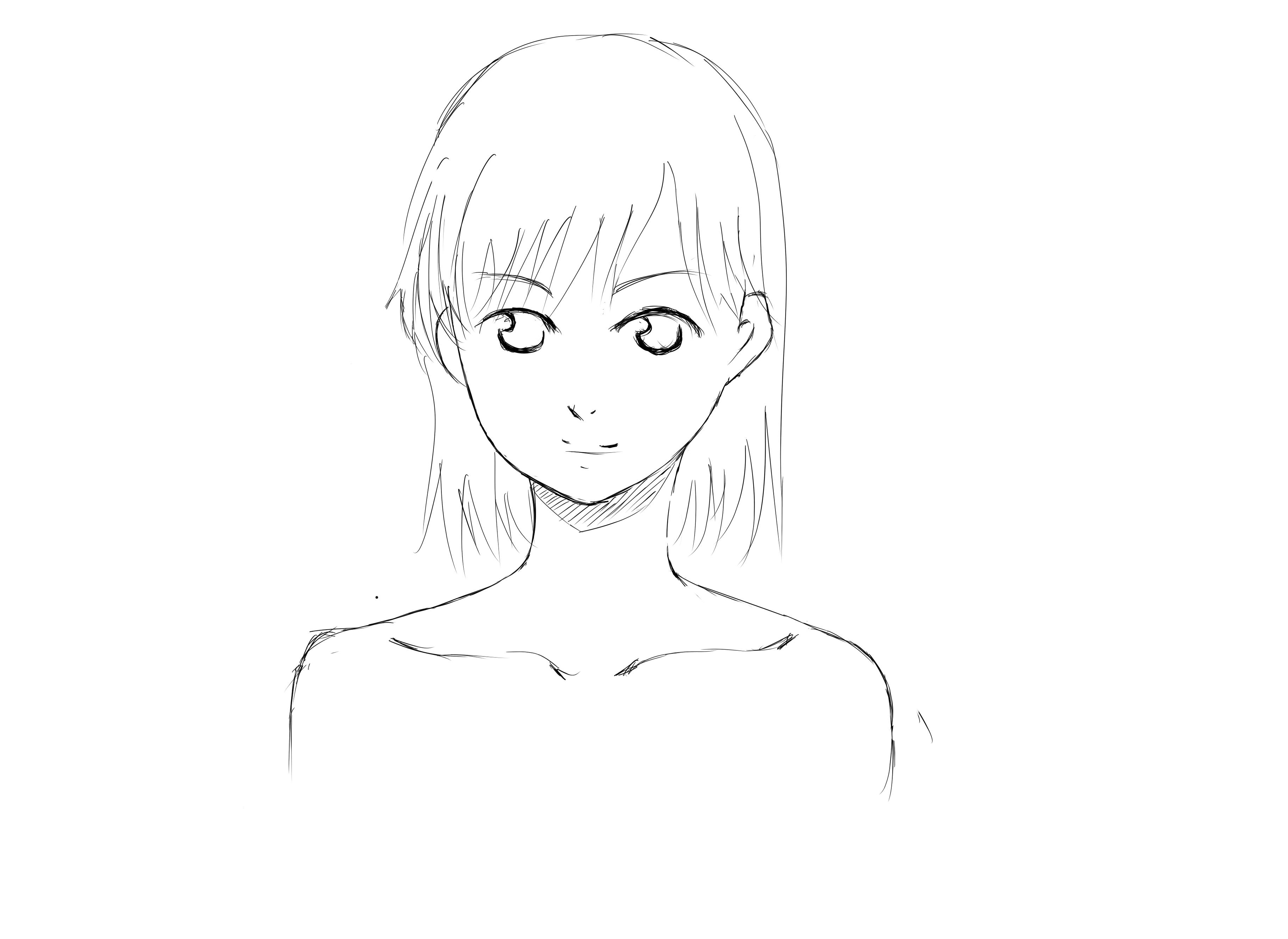 用铅笔绘制的少女头部草稿