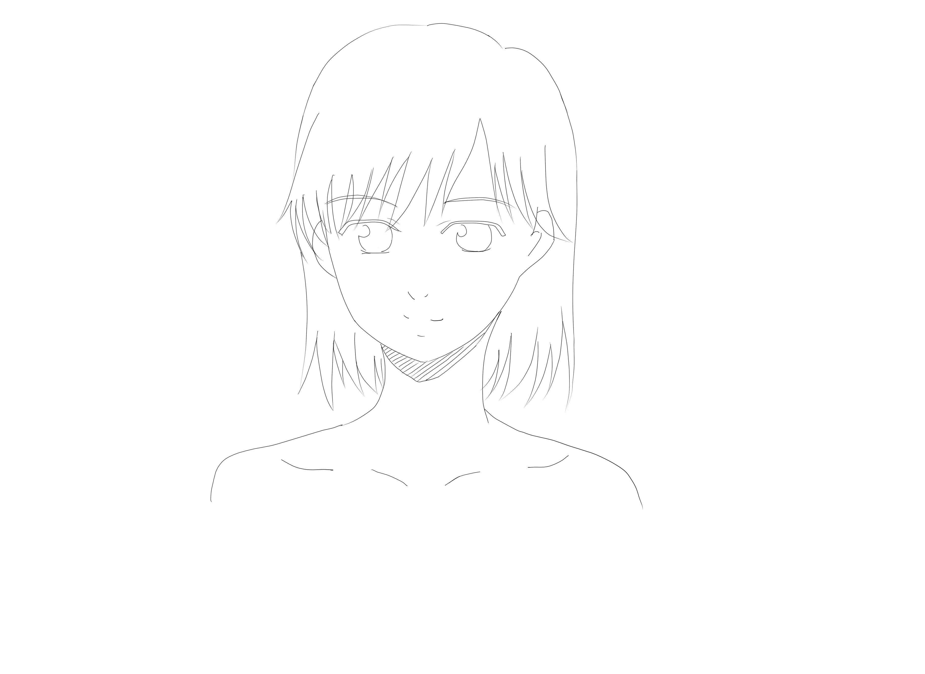 用钢笔描线的少女头部